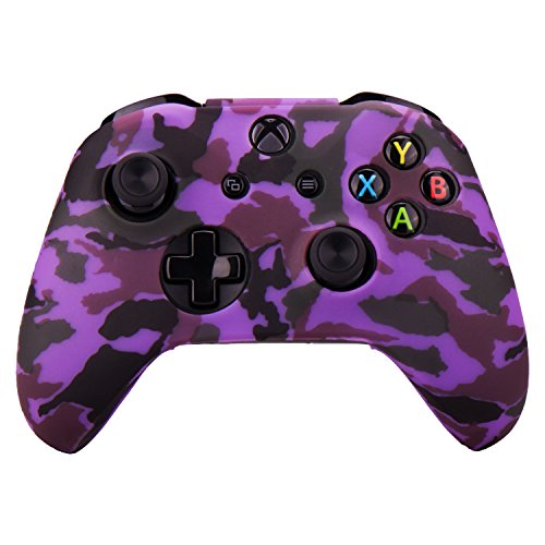 MXRC Silikon-Schutzhülle für Xbox One / S / X Controller, rutschfest, wasserabweisend, Camouflage, Violett