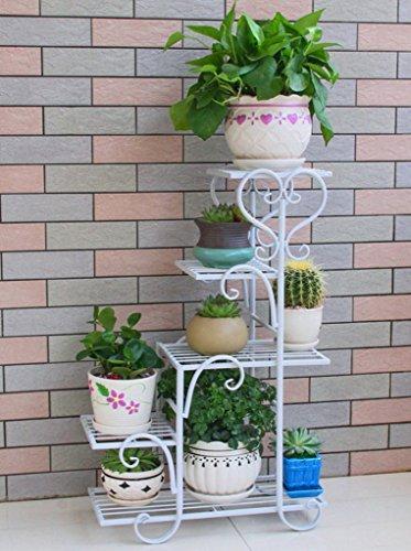 DFHHG® Porte-fleurs, Fer Plusieurs couches balcon salon intérieur étagère à fleurs Porte-pot à fleurs 48 × 23 × 75cm Support de fleur américain (Couleur : Blanc)