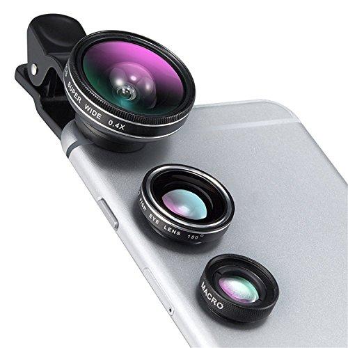 ARTLU® beruflichen Ziele Linsen Kit für Handy-Kamera (Clip 3-in-1 180 ° Fisheye + Weitwinkel 0,4x Makro 10X +) (Telefon nicht im Lieferumfang enthalten)