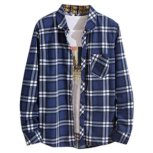 Herren Kariertes Langarmshirt Freizeithemd gedrucktes Hemd Jungen Freizeit Basic Shirt Regular-Fit -