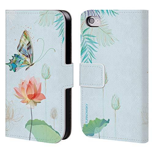 Head Case Designs Offizielle Turnowsky Lotus Schmetterling Blume Brieftasche Handyhülle aus Leder für iPhone 4 / iPhone 4S (Lotus-blume Iphone 4 Case)