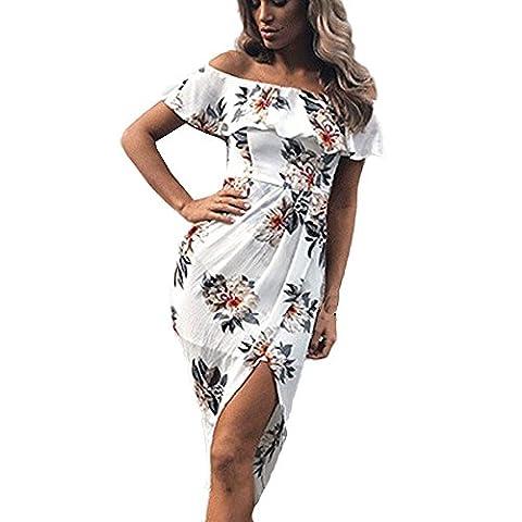 Femmes Bardot Robe, OverDose Sexy Robe D'éTé à éPaules DéNudéE Robe De Bal De Fin D'AnnéE Mi-Longue StructuréE à Imprimé Fleur (M, Blanc)