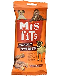 Misfits Tangly Twists Beef and Cheese Dog Treat, 7 Sticks
