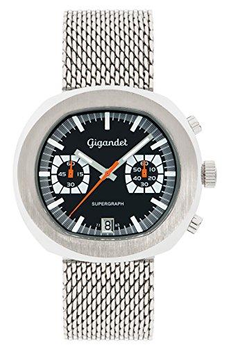 Gigandet Supergraph Men's Quartz Watch Chronograph Analogue Date Silver Black G11-002