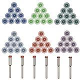BUYGOO 60pcs Cepillo abrasivo Radial Fino Detalle abrasivos Cepillo de Disco de cerdas radiales de Arena Mixta con 6 Mandriles (3mm) para Herramientas rotativas