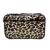 IKURI Wasserdichte Kosmetiktasche - Kulturtasche Waschtasche Utensilio Handarbeit aus Wachstuch - Design Leopard