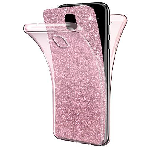 EUWLY Coque Galaxy Note 3 Silicone Gel 360 Protection intégral Glitter Etui Avant + Arrière Full-Body Protective Paillette Housse Souple TPU Ultra Fine Mince Soft Bumper Case Coque,Rose