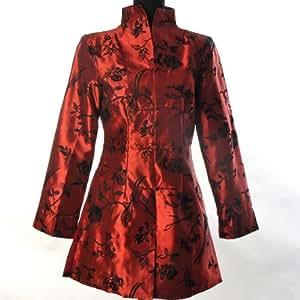 Shanghai Tone® Veste Longue Femmes Orientale Asiatique Traditionnelle Chinoise Veston Manteau Costume Tang Broderie Elégant Floral Noir Tailles Disponibles: 0, 2, 4, 6, 8, 10, 12
