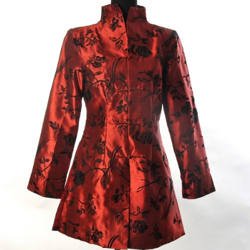 Shanghai Tone® Orientalisch Chinesisch Asiatisch Stickerei Frauen Traditionell Elegant Blume Lange Jacke Blazer Mantel Tang Anzug Rot Größe: 34, 36, 38, 40, (Asiatische Kostüm Frauen Für)