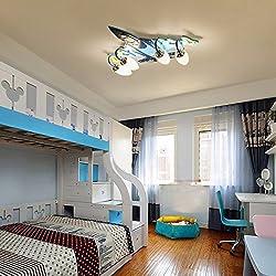Habitación de los niños niños y niñas dormitorio LED luces de ahorro de energía creativa de aeronaves protección ocular lampara de techoAzul68 x 60 Iluminación de techo de interior
