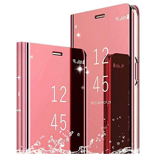 DAYNEW Funda para XiaoMi Mi MAX 3,XiaoMi Mi MAX 3 Funda Desmontable Ultra-Delgado,360 °Protection Inteligente Espejo Brillante tirón del Caso Duro para XiaoMi Mi MAX 3-Oro Rosa