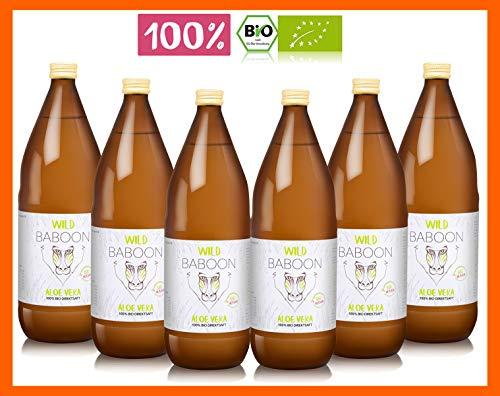 Premium Aloe Vera 100% Bio Direktsaft, 1200mg Aloverose, 6 Liter Trinkgel, DE-ÖKO-006 (6) -