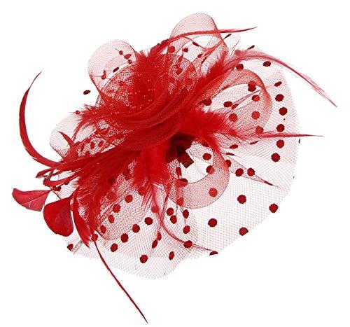 GEMVIE Damen Vintage Fascinator Clip mit Federn Haarreif Haarschmuck Blumen Hochzeit Rot Rote Hüte Vintage Hut