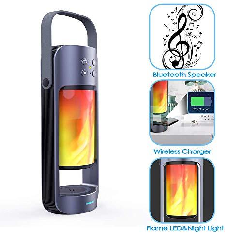 YTBLF Flammenlicht Bluetooth-Lautsprecher, kabelloses Handy-Ladegerät, Unterstützung für SD/USB-Plug-and-Play, Freisprechfunktion, kompatibel mit iOS- und Android-Handys