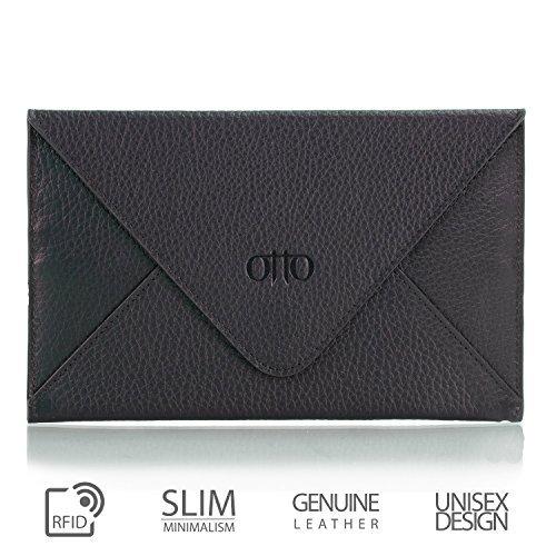 Otto Angelino Echtes Leder Kreditkartenhalter und Reisebrieftasche Hülle mit Magnetischem Verschluss - RFID Schutz (Schwarz) -