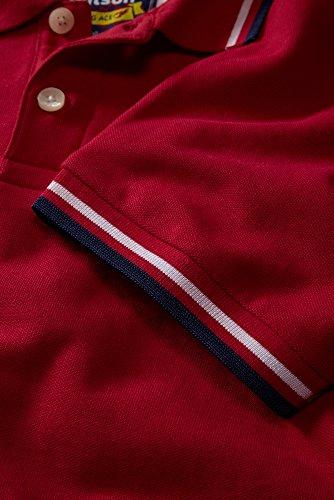 Charles Wilson Kontrastkragen Polohemd Rot