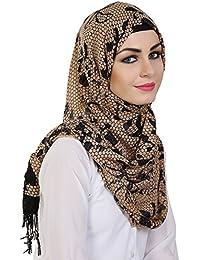 Momin Libas Women's Viscose Printed Hijab and Scarf, Medium (Gold and Black, HVC47017)
