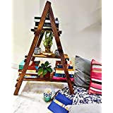 HIDEN Pine Wood Matte Finish Shelf Home Decorative Ladder Bookshelf for Showpiece Planter Stand, 3 ft, Brown , Set of 1