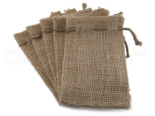 CleverDelights 3 x 5 Burlap Bags with Natural Jute Drawstring - - Small Burlap Pouch Sack Favor Bag for Showers Weddings Parties and Receptions - 3x5 inch by CleverDelights (Drawstring Jute)