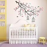 Wallflexi Stickers muraux Branche Fleurs de Cerisier Art Mural muraux Amovible Autocollant Stickers pour Office Home Décoration, Multicolore