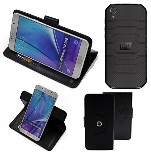 K-S-Trade® Hülle Schutzhülle Case für Caterpillar Cat S41 Single-SIM Handyhülle Flipcase Smartphone Cover Handy Schutz Tasche Bookstyle Walletcase schwarz (1x)