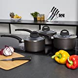 from Tower Tower Cerasure T80302 Saucepan Set with Non-Stick Ceramic Inner Coating and Tempered Glass Lid, 3-Piece, Graphite Model T80302