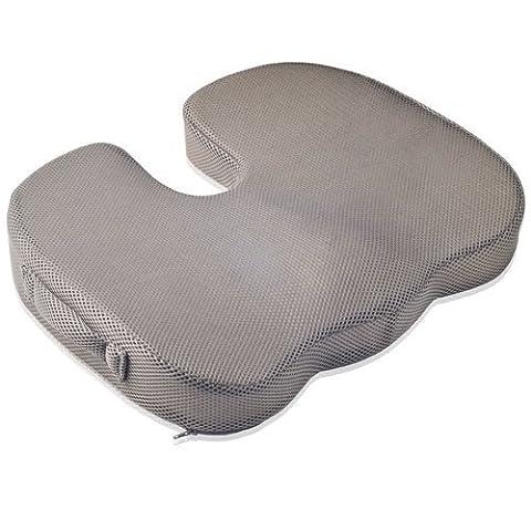 Dr. Frederick's Original BreatheTEC Memory Foam Tailbone Cushion - Non Slip - Washable Cover - Orthopedic Coccyx & Hemorrhoid Seat Pad