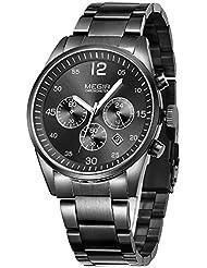 MEGIR Reloj para hombre con cronógrafo de cuarzo y correa de acero inoxidable, color negro