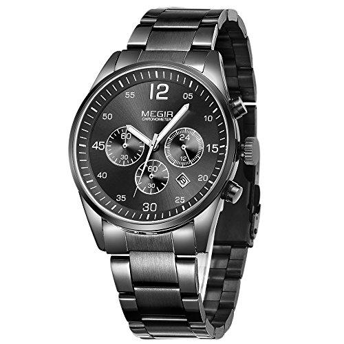 MEGIR Orologio sportivo da uomo, al quarzo, cinturino in acciaio inox , cronografo, colore: nero