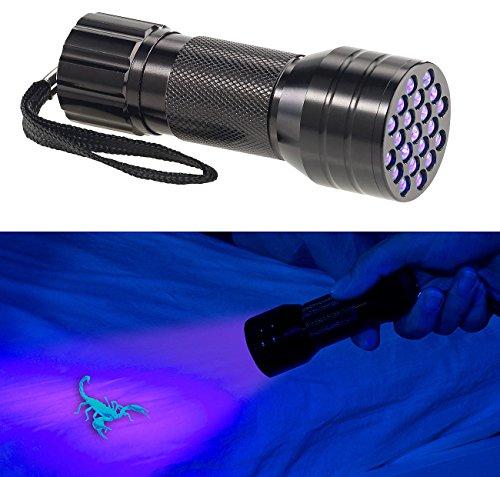 PEARL Schwarzlicht Lampe: 2in1-UV-Taschenlampe und Geldscheinprüfer, 21 LEDs und Batteriebetrieb (Schwarzlicht Taschenlampe)