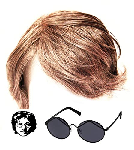 John Lennon Wig And Glasses The Beatles Fancy Dress Yoko Ono Hippy 60's 70's Costume Fun Party Outfit Hair Spectacles by Silver ()