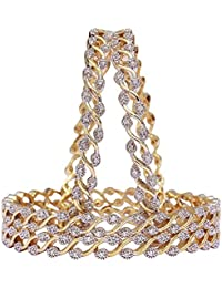 M CREATION American Diamond Gold Plated Bangles For Women B1133(Set Of 4)