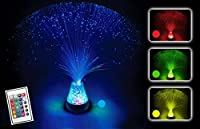 Fibre Optic Lamp Colour Changing Crystal Base With Remote Control - 4 Colours 13 Inch Mood Novelty Lamp Battery Operated by Playlearn by Playlearn