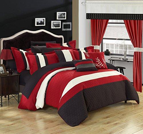 Chic Home 24piezas Covington octogonal de Juego completo de dormitorio con bordado, reina, color rojo