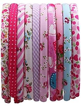 Candygirl 12 Piezas Flores/Enrejado Diademas de Satén de Niñas Cinta Cubierta de 36 cm de Perímetro Accesorios...