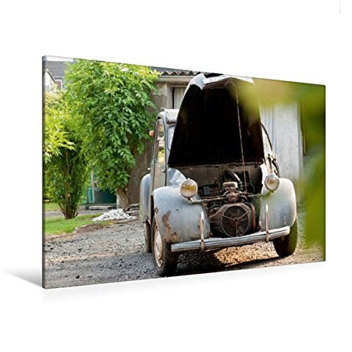 Premium Textil-Leinwand 120 cm x 80 cm quer, Minimalismus unter der Motorhaube | Wandbild, Bild auf Keilrahmen, Fertigbild auf echter Leinwand, Leinwanddruck: Citroën 2CV (CALVENDO Technologie) (Klassische Motorhaube)