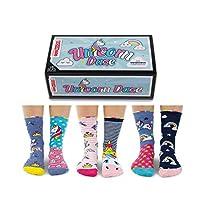 Unicorn Daze - Box 6 United Oddsocks For Girls - Multicoloured - UK 12-5.5, EUR 30.5-38.5, US 13.5-8