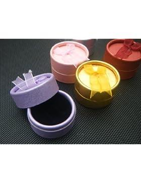 kleine, runde, kreisförmige Geschenkschatullen für Schmuck, Ringe, Ketten, Armbänder, gepolsterte Einlage, mit...