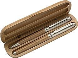 Schreibset Kugelschreiber Und Rollerball Aus Bambus Im Bambus Etui Mit Individueller Gravur