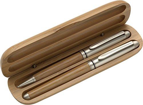 Schreibset / Kugelschreiber und Rollerball aus Bambus im Bambus Etui mit individueller Gravur