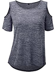 NAOMIIII Women Loose Casual Round Neck T-Shirt À Manches Courtes Blouse Tops
