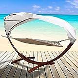 Melko® XXL Hängematte mit Liegefläche für Zwei Personen bis 150 kg aus Lärche und Baumwolle, inkl. Sonnendach, 400 x 120 x 190 cm
