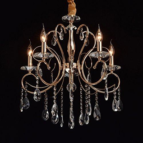 Arm-kerze Kronleuchter (Eleganter schicker Kerzen Kronleuchter 5 flammig goldfarbiges Metall transparentes Glas Kristalltropfen Lichtspiel Wohnzimmer Schlafzimmer Esszimmer Restaurant Hotel exkl. 5*40W E14)