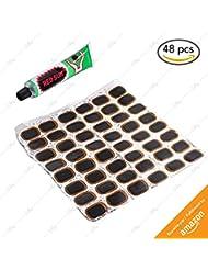 48 Rustines Silley® + Colle ★ Haute qualité en caoutchouc pour pneu – Kit réparation pour vélo – Patch pneu bicyclette vtt bmx …