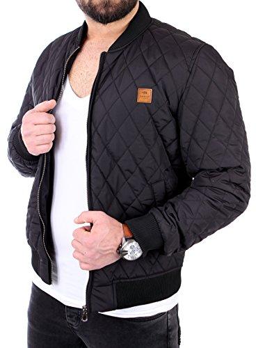 Reslad Herren Jacke Diamond Quilt Look Bomber Übergangsjacke RS-9003 Schwarz XL