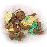Nicery Indio Style Negro dura de la piel de silicona Simulación de vinilo de 10 pulgadas 26cm impermeable juguete de color amarillo Niño Niña Renacido baño del bebé de la muñeca con el acrílico Ojos Reborn Baby Doll
