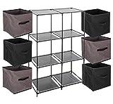 Ensemble de 7 pièces : 1 Meuble de rangement étagère casier + 6 Boîtes de rangement tiroirs - Coloris TAUPE et NOIR