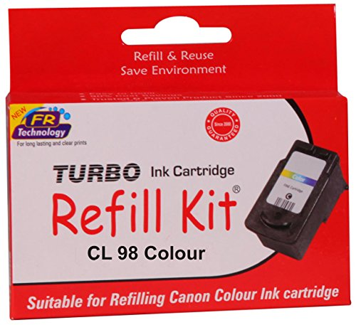 Turbo refill kit for Canon CL 98 colour ink cartridge  available at amazon for Rs.483