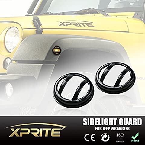 Xprite Black Light Euro Guard For Front Side Marker Parking Light Cover 2007 - 2016 Jeep Wrangler JK Unlimited (One Pair) by Xprite