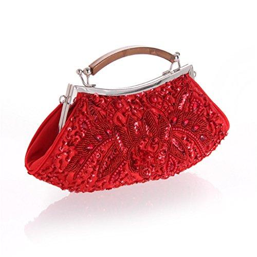 ERGEOB Damen Clutch Perlen Tasche Abendtasche für Event tradizional handmade handtasche Silber Rot